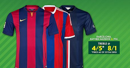Barcelona, Bayern Munich & PSG to win @ 8/1