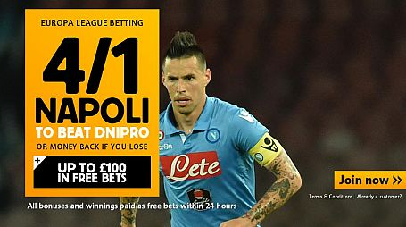 4/1 Napoli to beat Dnipro - Betfair Sportsbook Offer