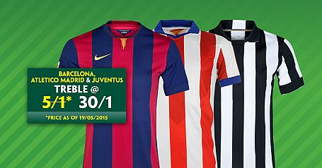 Barcelona, Atletico & Juventus to win @ 30/1
