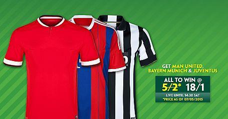 Man Utd, Juventus & Bayern Munich to win @ 8/1 - Paddy Power