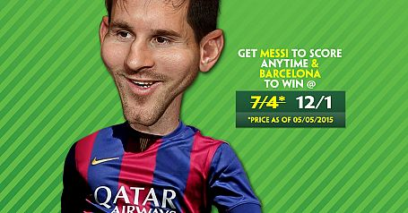 Messi to score & Barcelona to win 12/1 - Paddy Power