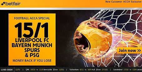 Liverpool, Spurs, Bayern & PSG all to win 15/1