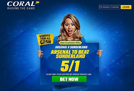 Arsenal 5/1 to beat Sunderland