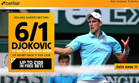 6/1 Djokovic to win the French Open
