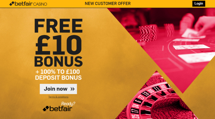 Free £10 Bouns - Betfair Casino