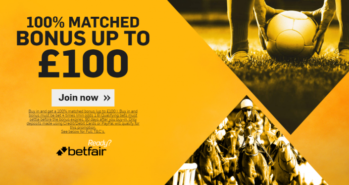 Betfair New Sign Up Offer - 100% Matched Deposit up to £100